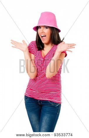 Girl with a pink hat, isolated on white background
