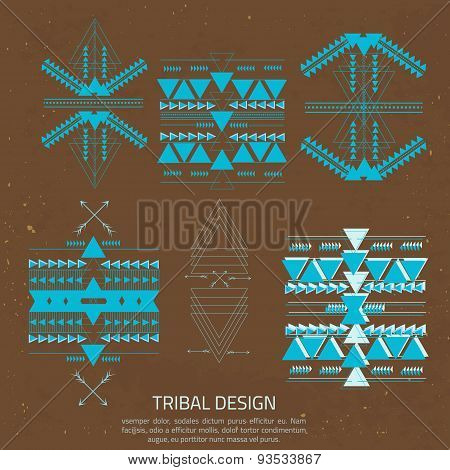 Vector Tribal Elements, Ethnic Collection In Aztec Stile For Your Business. Creative Design For Card