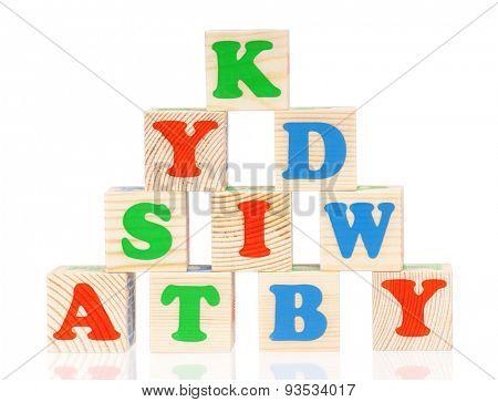 Wooden alphabet blocks, isolated on white background