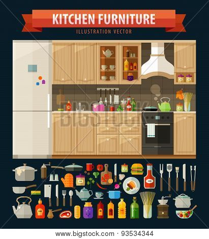 cooking icons set. kitchen furniture and utensils, food. vector. flat illustration