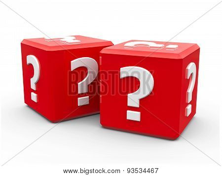 Red Cubes With Question Mark