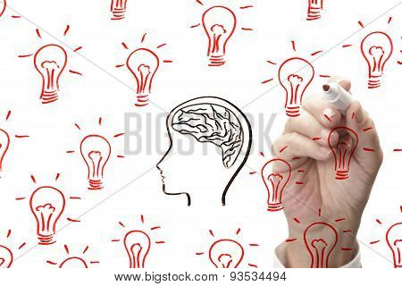 drawing brain surrounded by light bulbs on whiteboard