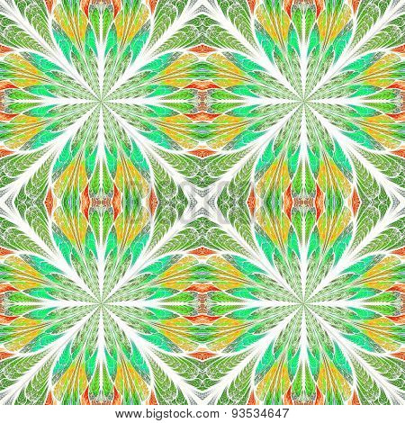 Symmetrical Pattern In Stained-glass Window Style. Yellow And Green Palette.