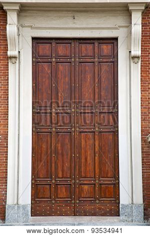 Knocker And Wood  Door In A Church Crenna Gallarate Varese