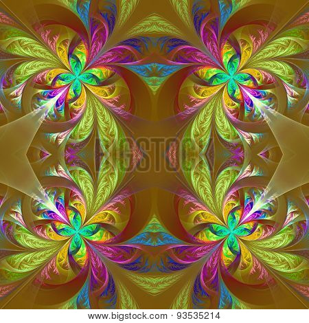 Symmetric Multicolored Fractal Tracery. Collection - Frosty Pattern. On Brown.