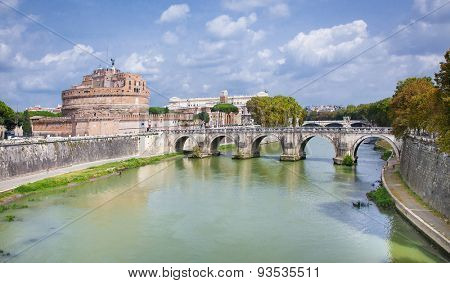 ROME, ITALY - SEP 20, 2014: Ponte Sant'Angelo (Aelian Bridge) across the Tiber river. Aerial view from the Mausoleum of Hadrian, known as Castle of the Holy Angel (Castel Sant'Angelo). Rome, Italy.