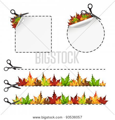 Vector scissors cut sticker. Autumn leaf 10eps