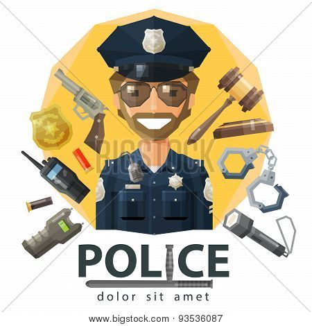 police, law, constabulary vector logo design template. enforcement, order or policeman icon. flat il