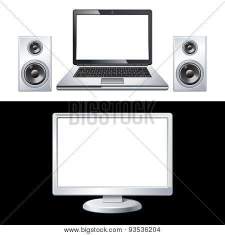 laptop, speaker, computer isolated on white, black 10eps