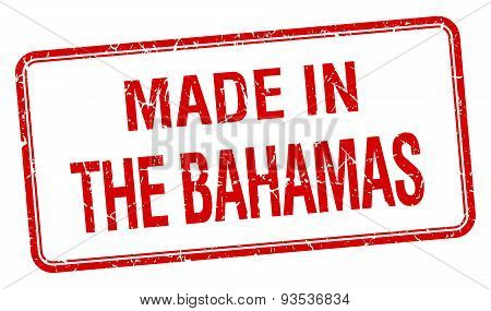 Made In The Bahamas Red Square Isolated Stamp