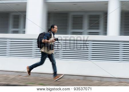 Running photographer