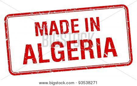 Made In Algeria Red Square Isolated Stamp