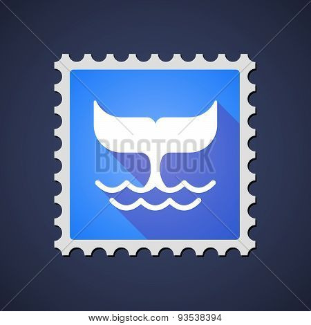 Blue ,ail Stamp Icon With A Whale Tail