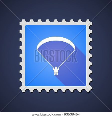 Blue ,ail Stamp Icon With A Paraglider