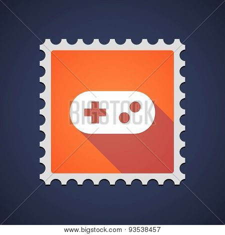 Orange Mail Stamp Icon With A Game Pad