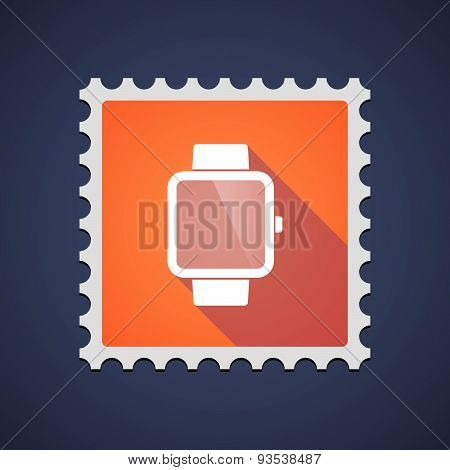 Orange Mail Stamp Icon With A Smart Watch