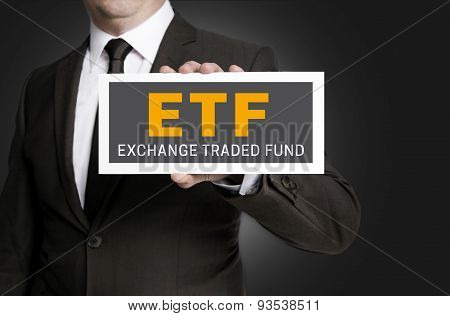 Etf Sign Is Held By Businessman