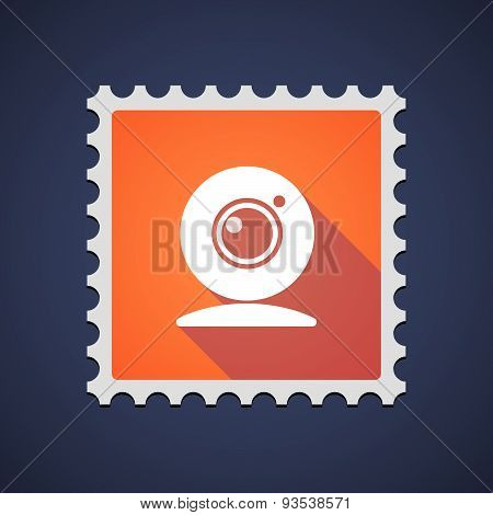 Orange Mail Stamp Icon With A Web Cam