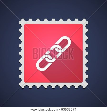 Red Mail Stamp Icon With A Chain