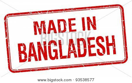 Made In Bangladesh Red Square Isolated Stamp