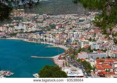 The aerial view of the harbor of Kusadasi town