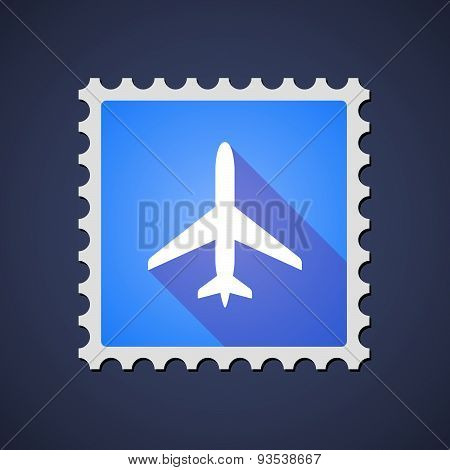 Blue Mail Stamp Icon With A Plane