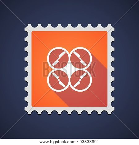 Orange Mail Stamp Icon With A Drone
