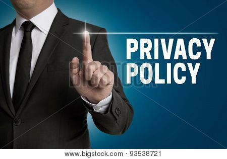Privacy Policy Touchscreen Is Operated By Businessman