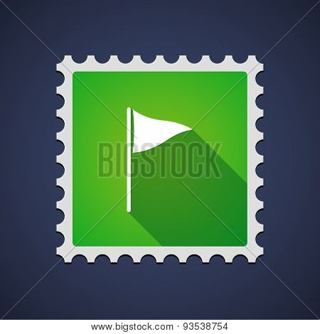 Green Mail Stamp Icon With A Golf Flag
