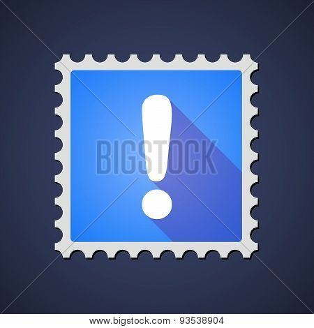 Blue Mail Stamp Icon With An Admiration Sign