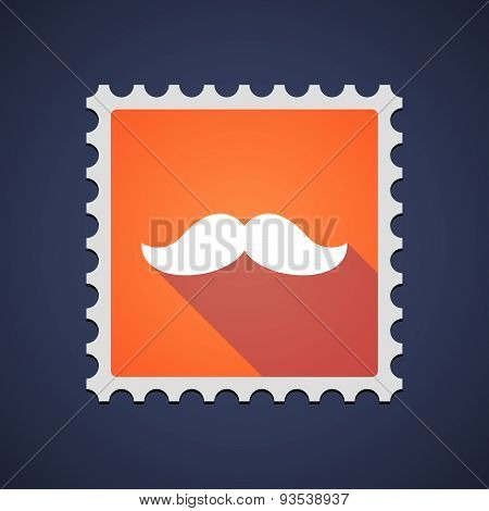Orange Mail Stamp Icon With A Moustache