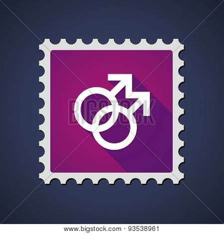 Purple Mail Stamp Icon With A Gay Sign