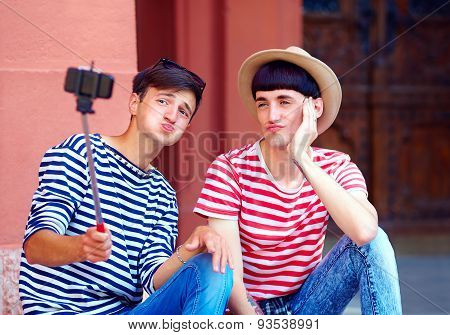 Male Couple Making Selfie, Posing Funny Faces