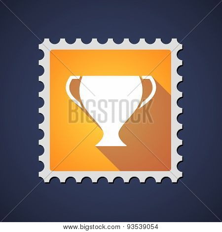 Yellow Mail Stamp Icon With A Cup
