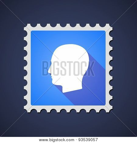 Blue Mail Stamp Icon With A Male Head