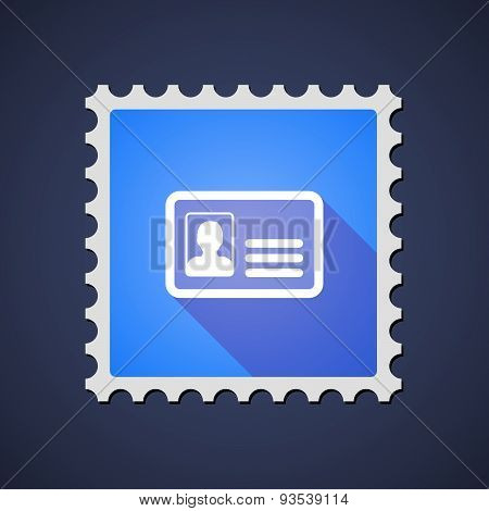 Blue Mail Stamp Icon With An Id Card