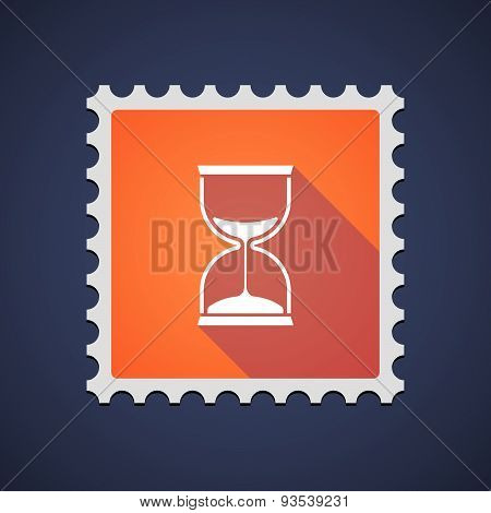 Orange Mail Stamp Icon With A Sand Clock