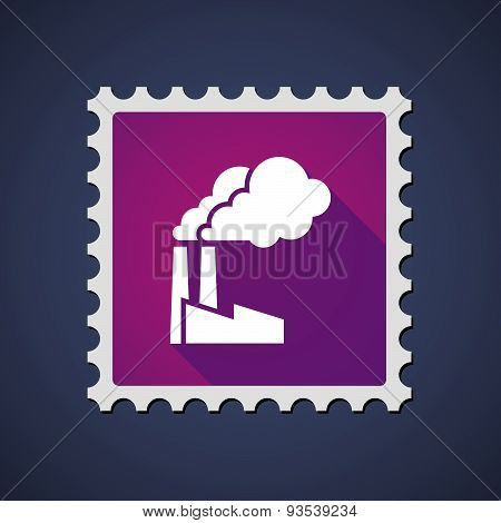 Purple Mail Stamp Icon With A Factory