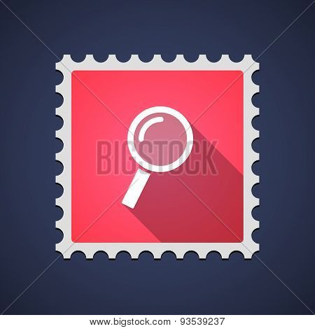 Red Mail Stamp Icon With A Magnifier