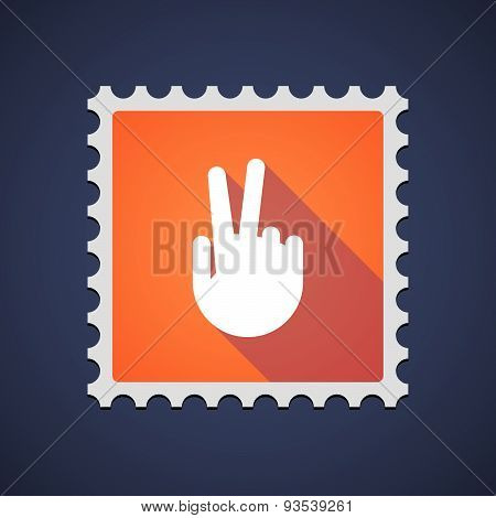 Mail Stamp Icon With A Victory Hand