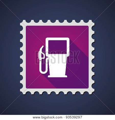 Purple Mail Stamp Icon With A Gas Station