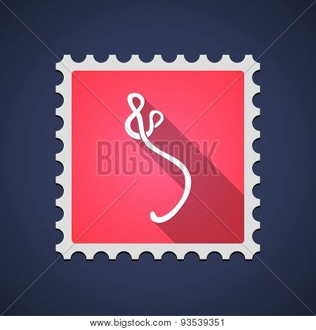 Red Mail Stamp Icon With An Ebola Sign