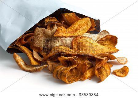 Fried root vegetable crisps.
