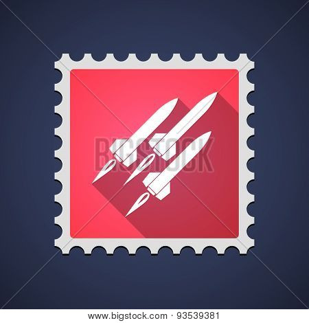 Red Mail Stamp Icon With Missiles