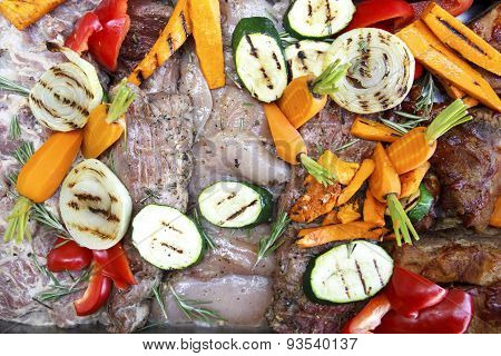Mixed Raw Meat And Grilled Vegetables Marinating Ready For Barbeque.