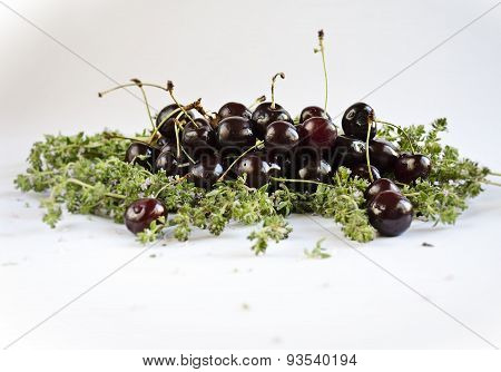 Fresh cherries separated