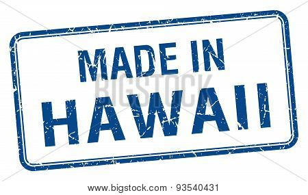 Made In Hawaii Blue Square Isolated Stamp