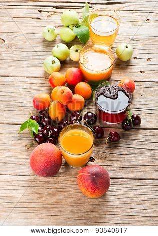 Collection Of Fresh Fruits And Juices
