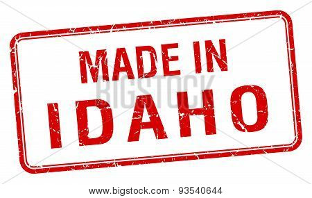 Made In Idaho Red Square Isolated Stamp
