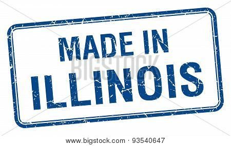 Made In Illinois Blue Square Isolated Stamp